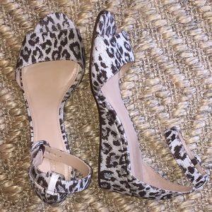 J.Crew Laila Leopard Wedge Sandal 7.5